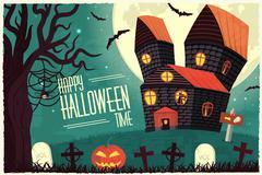 Halloween time background concept in retro style. Vector illustr Stock Illustration