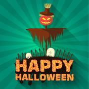 Halloween time background concept in retro style. Vector illustr - stock illustration