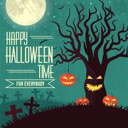 Halloween time background concept in retro style. Vector illustr - stock illustration