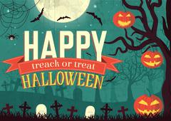 Halloween time background concept in retro style. Vector illustr Stock Illustration