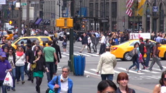 Timelapse busy crowded sidewalk avenue pedestrian people New York City day USA  Arkistovideo