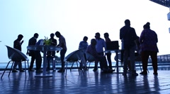 Silhouette of people at work place Stock Footage