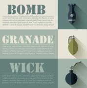 Flat military explosive weapons set design concept. Vector illus Stock Illustration