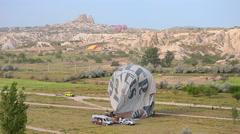 Cappadocia hot air balloon landed flight, tour, journey, Turkey, color, hoodoo Stock Footage