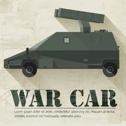 Grunge military war car icon background concept. Vector illustra Piirros