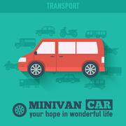 Flat minivan car background illustration concept. Tamplate for w Stock Illustration