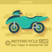 Flat bike background illustration concept. Tamplate for web and - stock illustration