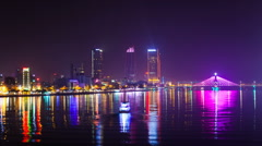 1080 - Danang Skyline at night, Vietnam  Danang is one of the largest cities in - stock footage