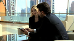 Arabic Eastern European male female business tablet technology stocks shares - stock footage