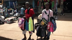 Africa Bandim street market vendors Guinea Bisseau Stock Footage