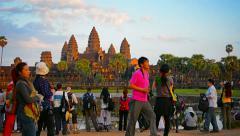 Angkor, cambodia - circa dec 2013: five towers of angkor wat in sharp contras Stock Footage