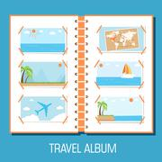 Stock Illustration of flat travel photo album illustration design concept background.