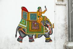 wall painting in udaipur at a local house - stock photo