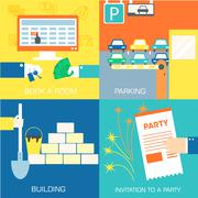 set of flat communication concepts illustrations. Vector backgro - stock illustration