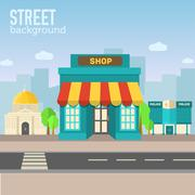 Shop building in city space with road on flat syle background co Piirros