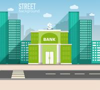 bank building in city space with road on flat style background c - stock illustration