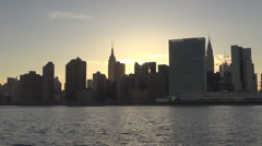 Panoramic view Manhattan cityscape popular sightseeing sunset New York City day  Stock Footage