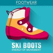 Flat sport ski boots background concept. Vector illustration des Stock Illustration