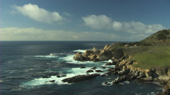 Aerial Pacific coastline nature Monterey California USA Stock Footage