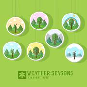 season icon set of nature tree background. Tamplate for web and - stock illustration