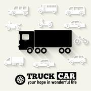 Flat truck car background illustration concept. Tamplate for web - stock illustration