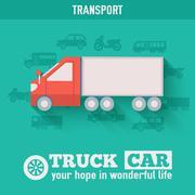 Stock Illustration of Flat truck car background illustration concept. Tamplate for web