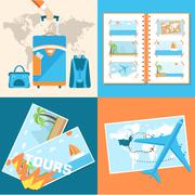 tour of the world seamless pattern concept. Tourism with fast tr - stock illustration