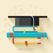 Book with square academic cap icon concept design. Vector illust Stock Illustration
