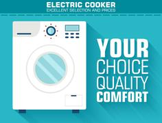 Flat washing machine with the slogan on the background with long - stock illustration
