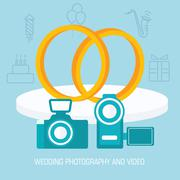 Flat wedding video and photo shoot background design concept. Ve Stock Illustration