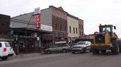 Truckee Main Street,neon light ,plow Stock Footage