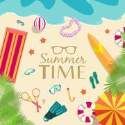 Stock Illustration of summer vecetion time background vector illustration concept