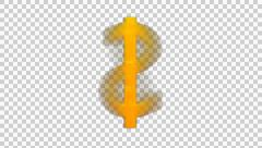 Animated spinning golden dollar sign with alpha channe 4 in 4k Stock Footage