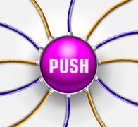 technical button push with wire background. Vector illustration - stock illustration