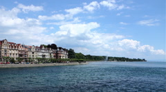 Constance See Side and Lake Constance with blue sky Stock Footage