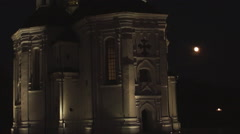 The ancient Orthodox Church, night Stock Footage