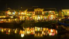 4k Night Timelapse of old Hoi An city in Vietnam Stock Footage