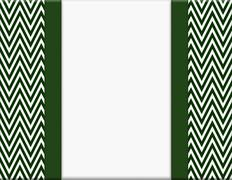 hunter green and white chevron zigzag frame with ribbon background - stock illustration