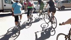 People riding bicycles in the center of Palermo Stock Footage