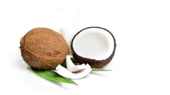 Fresh coconut opened rotating on pure white pure background Stock Footage