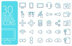 Thin line social set icons concept. Vector illustration design Stock Illustration