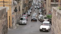 Via Cadorna and Via del Bastione streets in Palermo Stock Footage