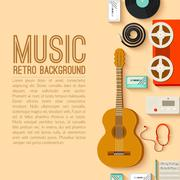 flat music instruments background concept. Vector illustrator - stock illustration