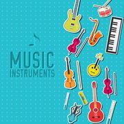 flat music instruments background concept. Vector illustrator - stock illustration