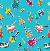 Stock Illustration of flat music instruments background concept. Vector illustrator