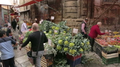 Street farmer's market in center of Palermo Stock Footage