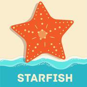 retro flat starfish icon concept. vector illustration design - stock illustration