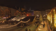 Skating rink at Christmas Market, Cologne, Germany, total shot in night time Stock Footage