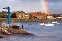Beautiful view of promenade of getxo port with stormy weather Stock Photos