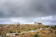 small church of san adrian in mountain - stock photo